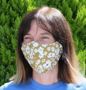 Curved cotton face mask yellow floral