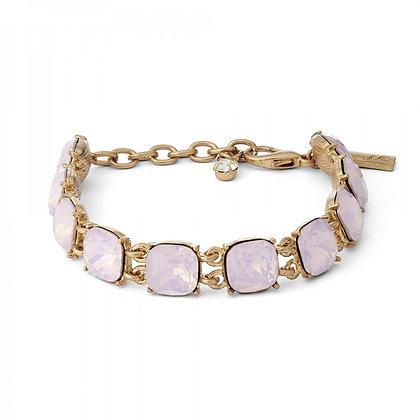 Cushion cut rose pink crystal bracelet