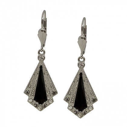 Art Deco drop earrings in black and silver