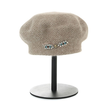 Angora jewelled beret in beige