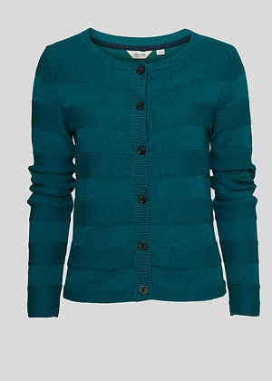 Band cotton knit cardigan in teal