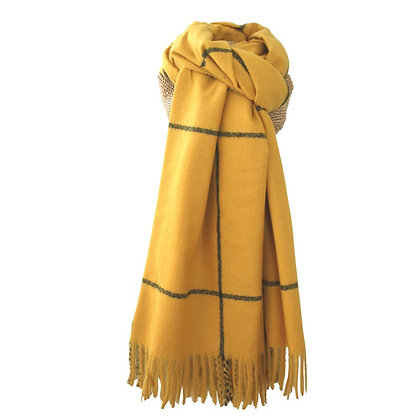 Check scarf in mustard