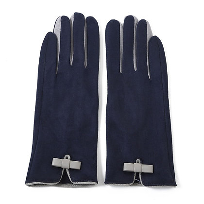Faux suede gloves navy