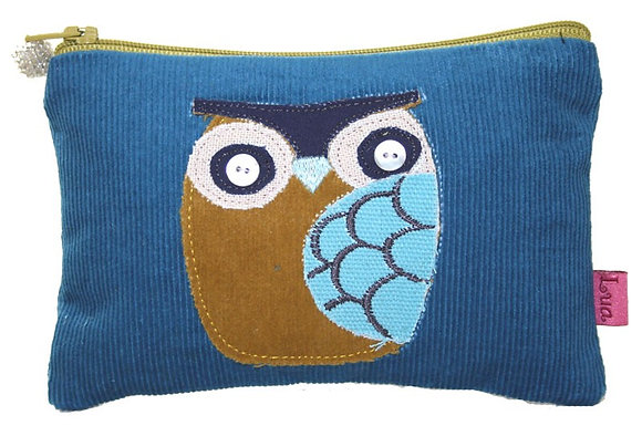 Owl coin purse in blue