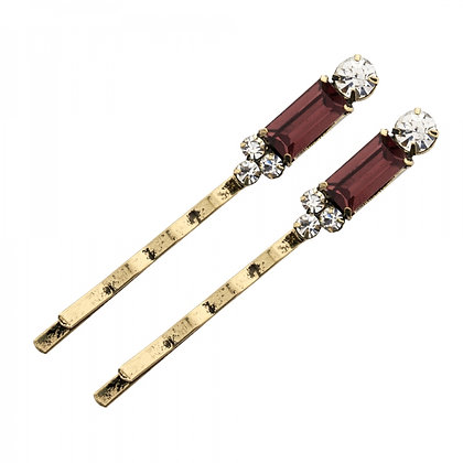 Burgundy 1950's bar style hairclips
