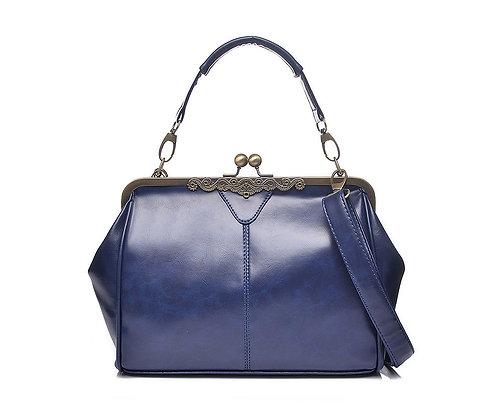 Vintage style handbag navy