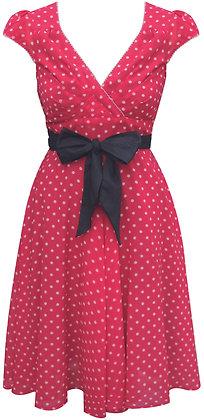 Regina dress in red spot