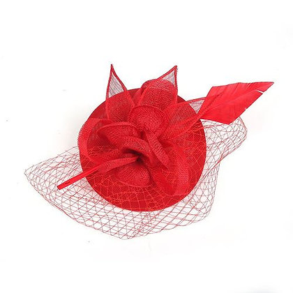 Red arrow fascinator on band