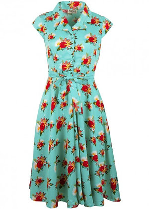 Vintage floral print shirt dress in sea green