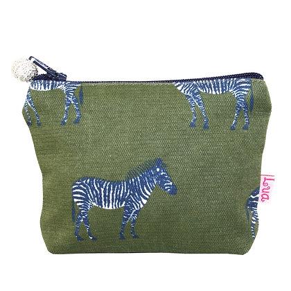 Zebra mini purse in green