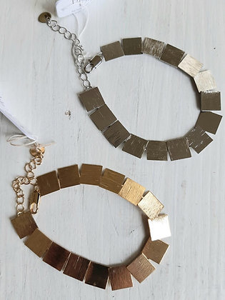 Textured squares bracelet in silver or gold