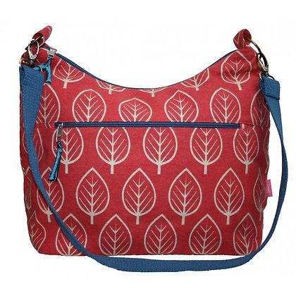 Leaf print sling bag in red