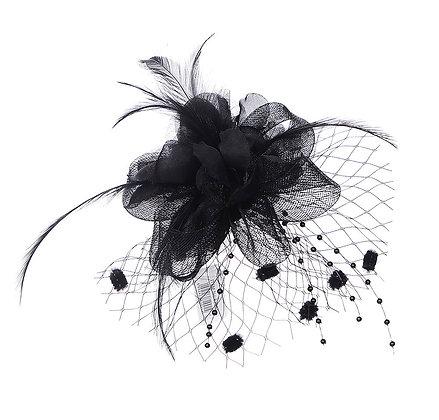 Black flower corsage clip