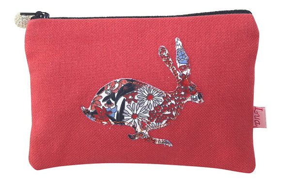 Applique hare purse in coral