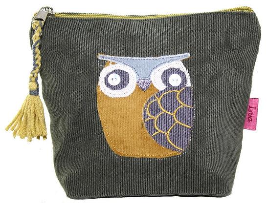 Owl cosmetic purse in khaki