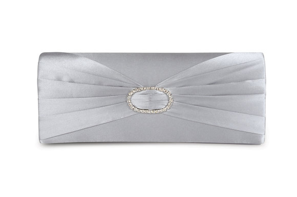 Diamonte satin clutch bag silver