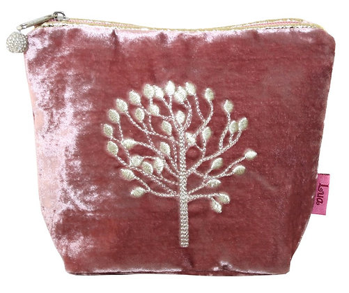Velvet cosmetic purse in dusty pink