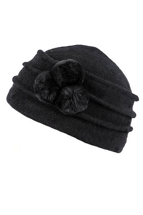 Cloche pom pom hat in black