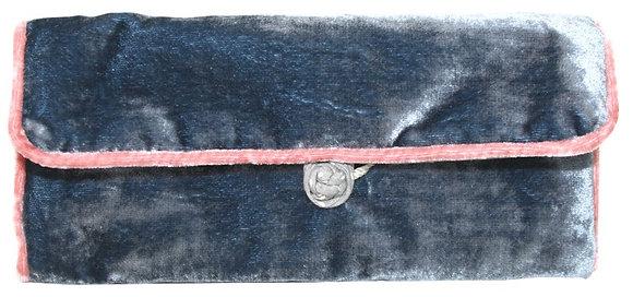 Velvet jewellery roll in blue