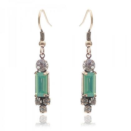 Aqua milkstone 1950's bar style earrings