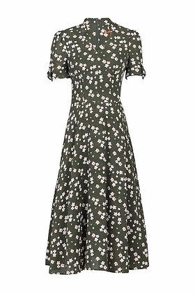 Olive floral tea dress