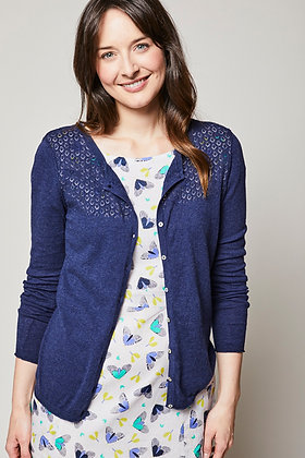 Pointelle cardigan in navy