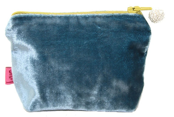 Velvet mini purse in ocean