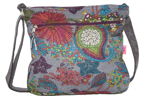 Silver grey floral messenger bag