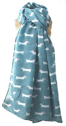Sausage dog print scarf in teal