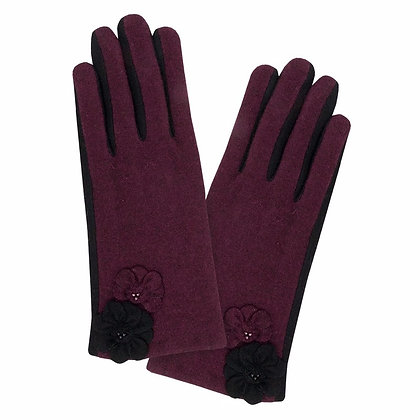 Maisie gloves in cranberry and black