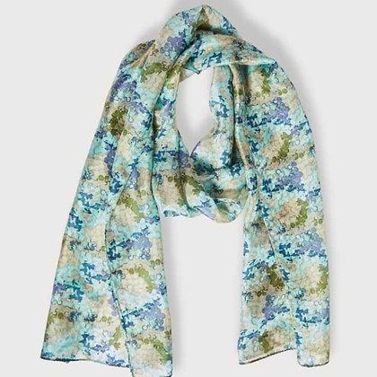 Shimmer blue print pure silk scarf
