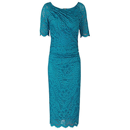 Teal lace pencil dress