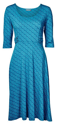 Wave jersey dress in teal