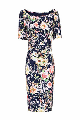 Navy floral pencil dress