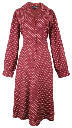 Heart print dress in burgundy