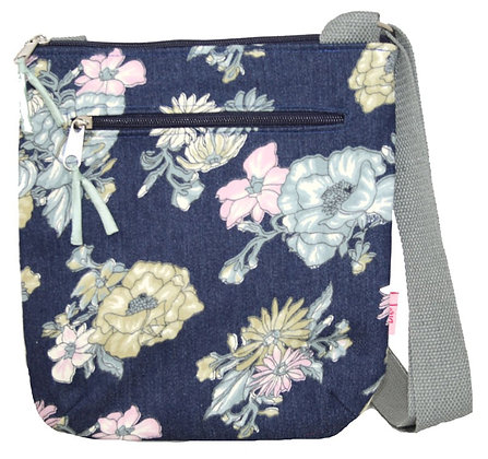 Floral crossbody bag in denim