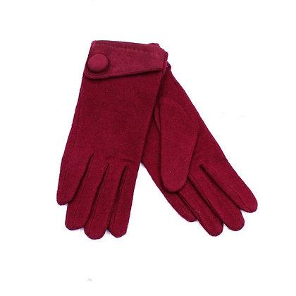 Button gloves in red