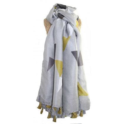 Triangle tassle scarf in grey