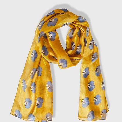 Hibiscus mustard pure silk scarf