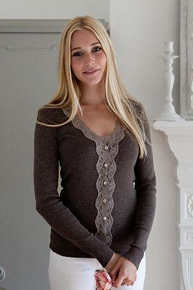 Gabriella Knight wavy lace cardigan mocha
