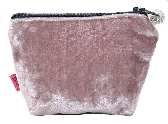 Velvet mini purse in dusty pink