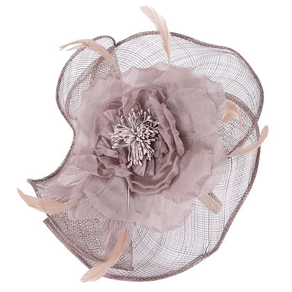 Taupe capette fascinator on band