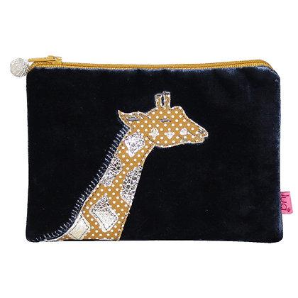 Velvet giraffe purse in navy