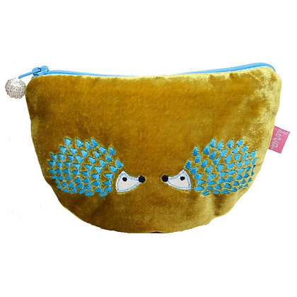 Velvet hedgehog purse in mustard