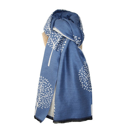Mulberry shawl in blue and cream