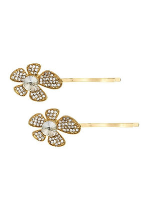 Golden crystal flower hairclip single