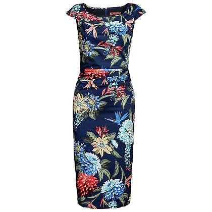 Navy floral pencil dress