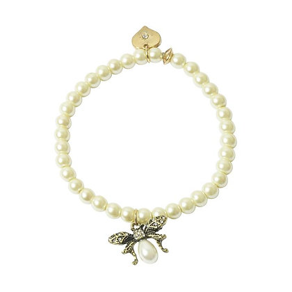 Golden Bee stretch pearl bracelet