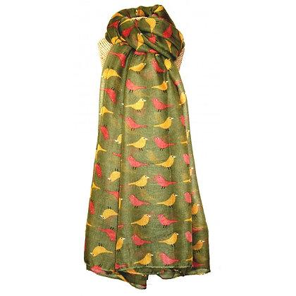 Birdie print scarf in olive green