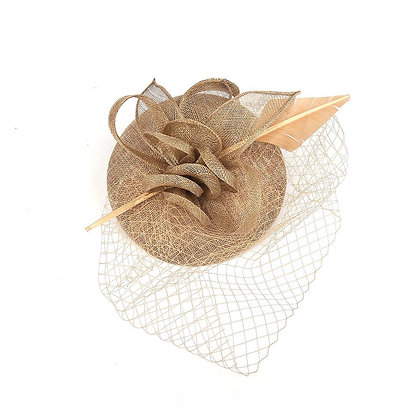 Antique gold fascinator on band
